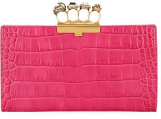 Alexander McQueen Jeweled Four Ring Crocodile-Embossed Clutch Bag, Dark Pink