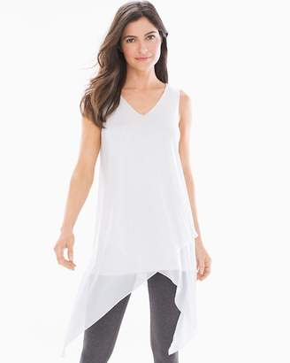Soft Jersey Layered Mesh Asymmetrical Hem Tunic Bright White