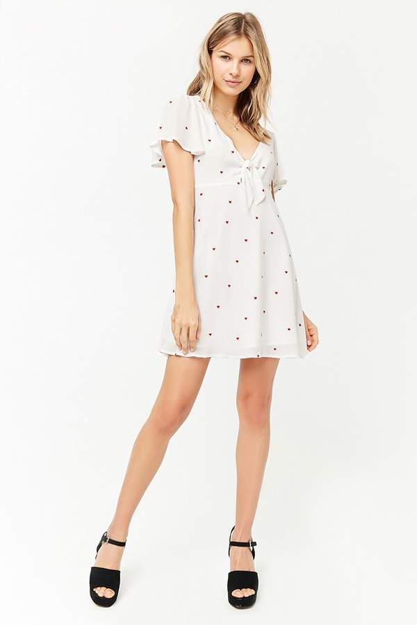 Forever 21 Embroidered Tie-Front Dress