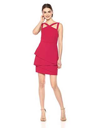 BCBGMAXAZRIA Azria Women's Asymmetrical Peplum Sheath Dress,4