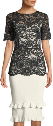 Sachin + Babi Petal Lace-Illusion Sheath Dress