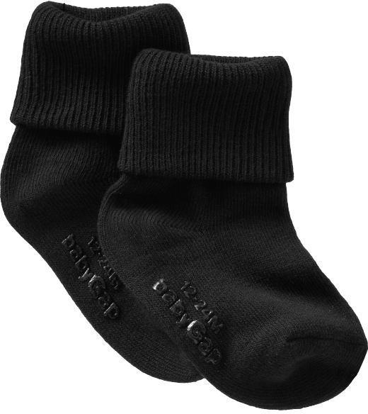 Black triple-roll socks