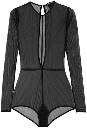 Ann Demeulemeester Stretch-tulle Bodysuit - Black
