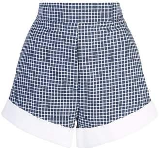 Sara Battaglia check print cuffed shorts