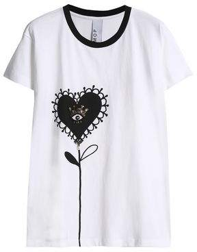 Mother of Pearl Embellished Printed Cotton-Jersey T-Shirt