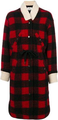 tartan drawstring coat