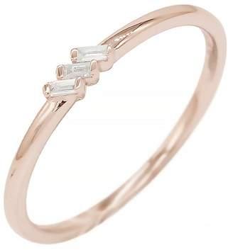 Bony Levy 18K Rose Gold Prong Set Baguette Cut Triple Diamond Stackable Ring - 0.04 ctw