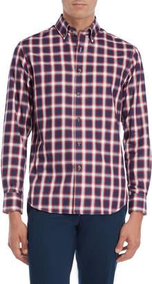 James Tattersall Woven Plaid Button-Down Shirt