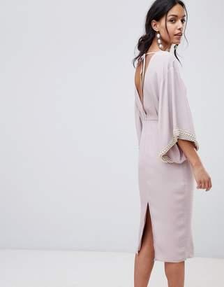 Asos DESIGN Embellished Kimono Midi Dress With Pearl Trim