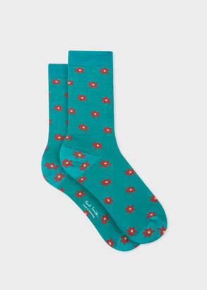 Paul Smith Women's Turquoise 'Daisy Polka' Pattern Socks