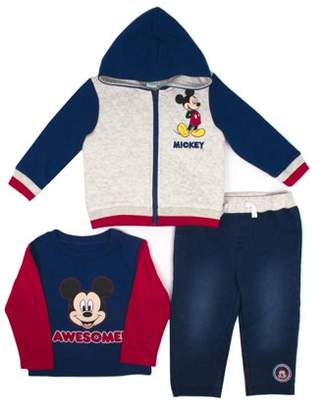 Mickey Mouse Mickey Ear Microfleece Vest, Long Sleeve T-shirt & Pants, 3pc Outfit Set (Baby Boys)