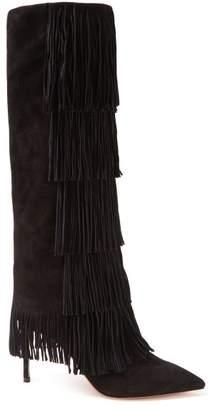 Aquazzura Shake 85 Suede Fringed Boots - Womens - Black