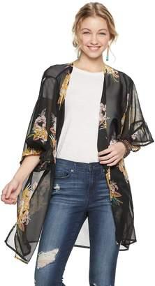 Mudd Floral Ruffle Sleeve Kimono