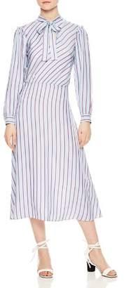 Sandro Tame Striped Midi Dress