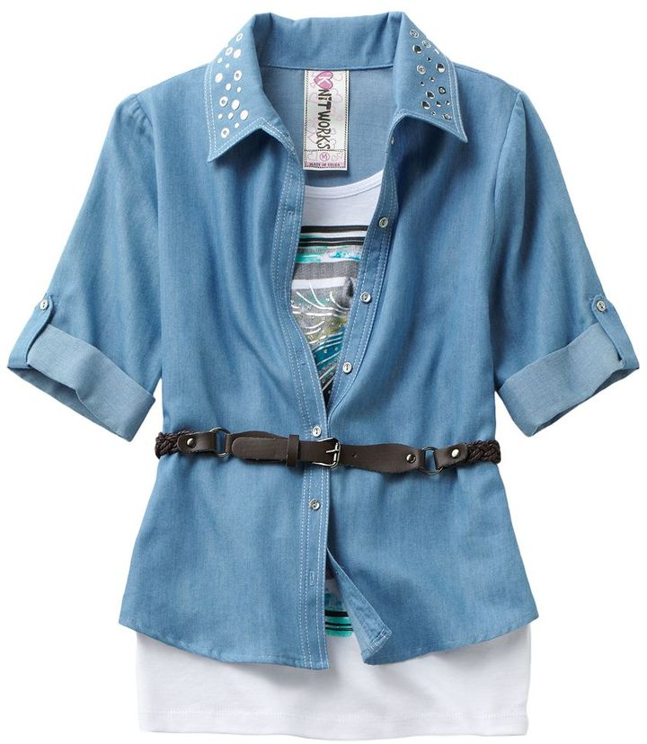 Knitworks mock-layer horse chambray top - girls 7-16