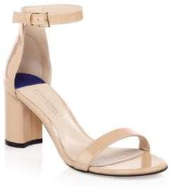 Stuart Weitzman 75LessNudist Patent Leather Ankle-Strap Sandals