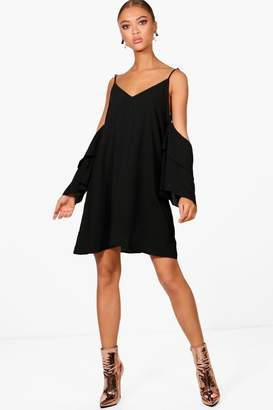 boohoo Sanna Frill Sleeve Open Shoulder Dress