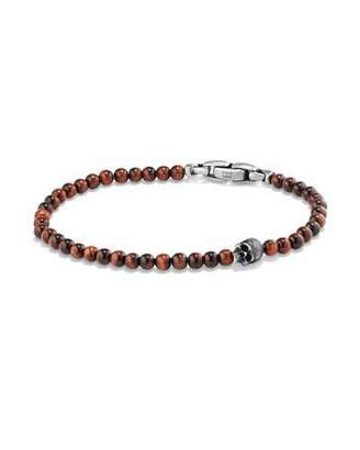 David Yurman Men's Spiritual Beads Skull Bracelet with Red Tiger's Eye