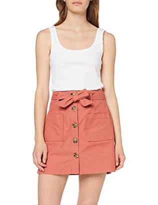 289774c75cdf Miss Selfridge Women's Pink Button Through Twill Skirt (Pale 030), (Size: