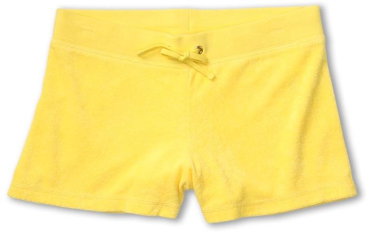 Juicy Couture Micro Terry Basics Classic Drawstring Short (Toddler/Little Kids/Big Kids) (Lemon Drop) - Apparel