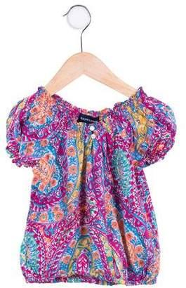 Ralph Lauren Girls' Floral Puff Sleeve Top
