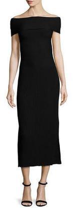 Elizabeth and James Marbella Off-the-Shoulder Ribbed Midi Dress, Black $495 thestylecure.com