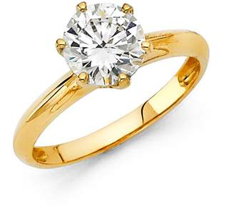 Paradise Jewelers 14K Solid Yellow Gold Round Brilliant Cut Solitaire Cubic Zirconia Engagement Wedding Ring , Size 6
