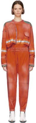 Calvin Klein Orange Distressed Fireman Jumpsuit