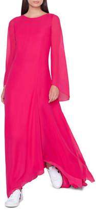Akris Boat-Neck Long-Sleeve A-Line Silk Dress