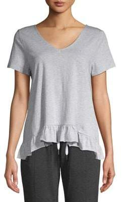 Betsey Johnson Ruffled-Hem Cotton Blend Tee