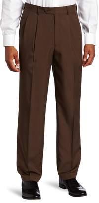 Savane Men's Select Edition Microfiber Pleated Dress Pant, Brown, 42x32