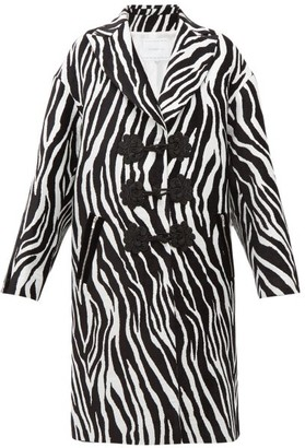 Andrew Gn Zebra Jacquard Evening Coat - Womens - White Black