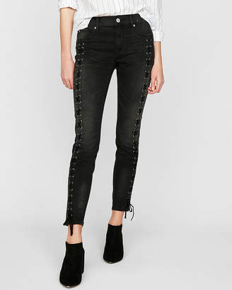 Express Mid Rise Black Lace-Up Stretch Ankle Jean Leggings