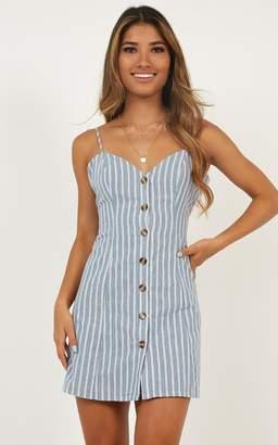 Showpo Thermal Spring Dress in blue stripe