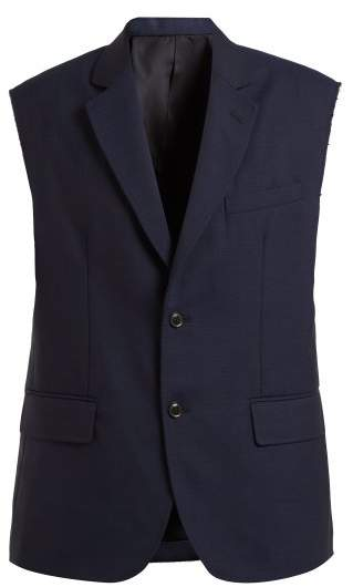 Single-breasted sleeveless wool blazer