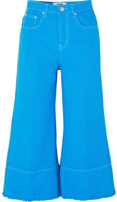 MSGM Cropped High-rise Wide-leg Jeans - Bright blue