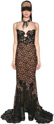 DSQUARED2 Grungy Embroidered Printed Chiffon Dress