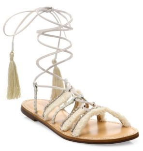 Schutz Jolina Embellished Fringe Lace-Up Flat Sandals $190 thestylecure.com