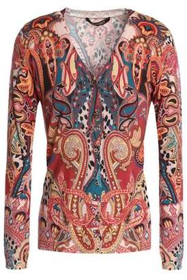 Roberto Cavalli Printed Wool Cashmere And Silk-Blend Cardigan