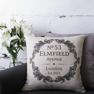Vintage Designs Reborn Personalised New Home Cushion Cover