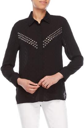Sandro Black Ciara Grommet Long Sleeve Shirt