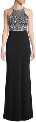 Aidan Mattox Sleeveless Beaded Jersey Illusion Gown