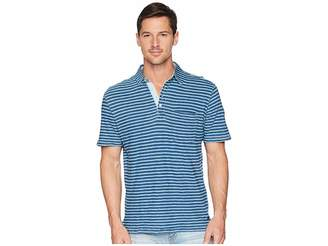 True Grit Genuine Indigo Seafoam Stripe Short Sleeve Knit Polo with Pocket Men's Short Sleeve Pullover