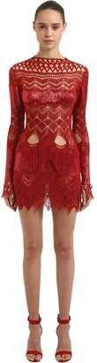 Julien Macdonald Embroidered & Fringed Cutout Dress