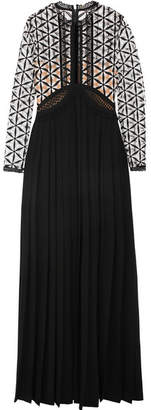 Self-Portrait Guipure Lace And Pleated Crepe Gown - Black