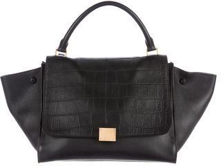 CelineCéline Medium Croc Stamped Trapeze Bag
