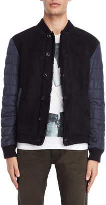 Armani Jeans Mixed Media Leather Bomber Jacket