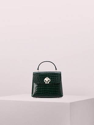 Kate Spade Romy Croc-embossed Mini Flap Top Handle Bag, Deep Evergreen