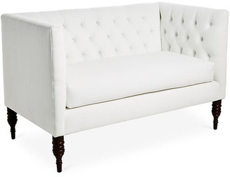 One Kings Lane Churchill Tufted Settee - White Velvet