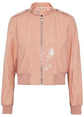 Alice + Olivia Nixon Patent-Leather Bomber Jacket